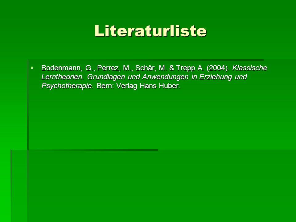 Literaturliste Bodenmann, G., Perrez, M., Schär, M. & Trepp A. (2004). Klassische Lerntheorien. Grundlagen und Anwendungen in Erziehung und Psychother