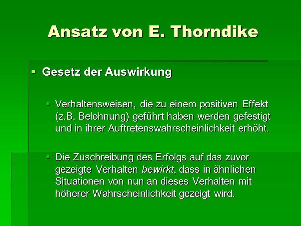 Ansatz von E. Thorndike Gesetz der Auswirkung Gesetz der Auswirkung Verhaltensweisen, die zu einem positiven Effekt (z.B. Belohnung) geführt haben wer