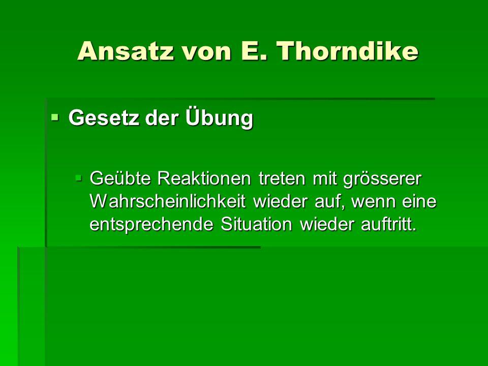 Ansatz von E. Thorndike Gesetz der Übung Gesetz der Übung Geübte Reaktionen treten mit grösserer Wahrscheinlichkeit wieder auf, wenn eine entsprechend