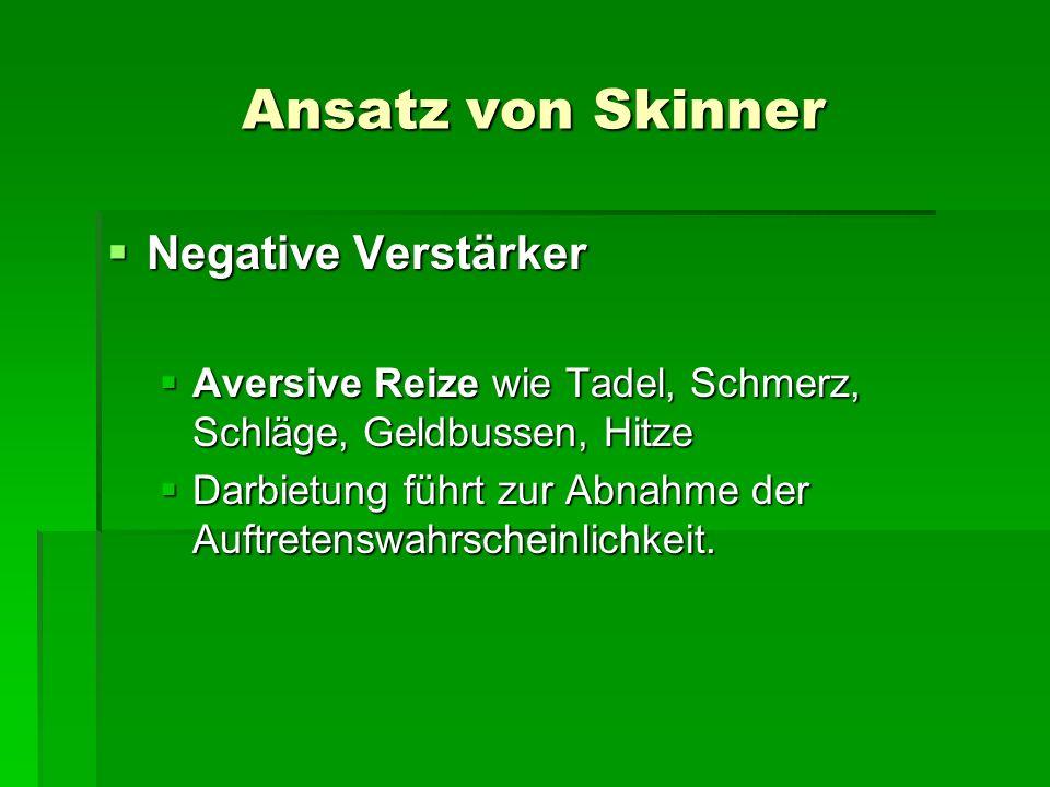 Ansatz von Skinner Negative Verstärker Negative Verstärker Aversive Reize wie Tadel, Schmerz, Schläge, Geldbussen, Hitze Aversive Reize wie Tadel, Schmerz, Schläge, Geldbussen, Hitze Darbietung führt zur Abnahme der Auftretenswahrscheinlichkeit.