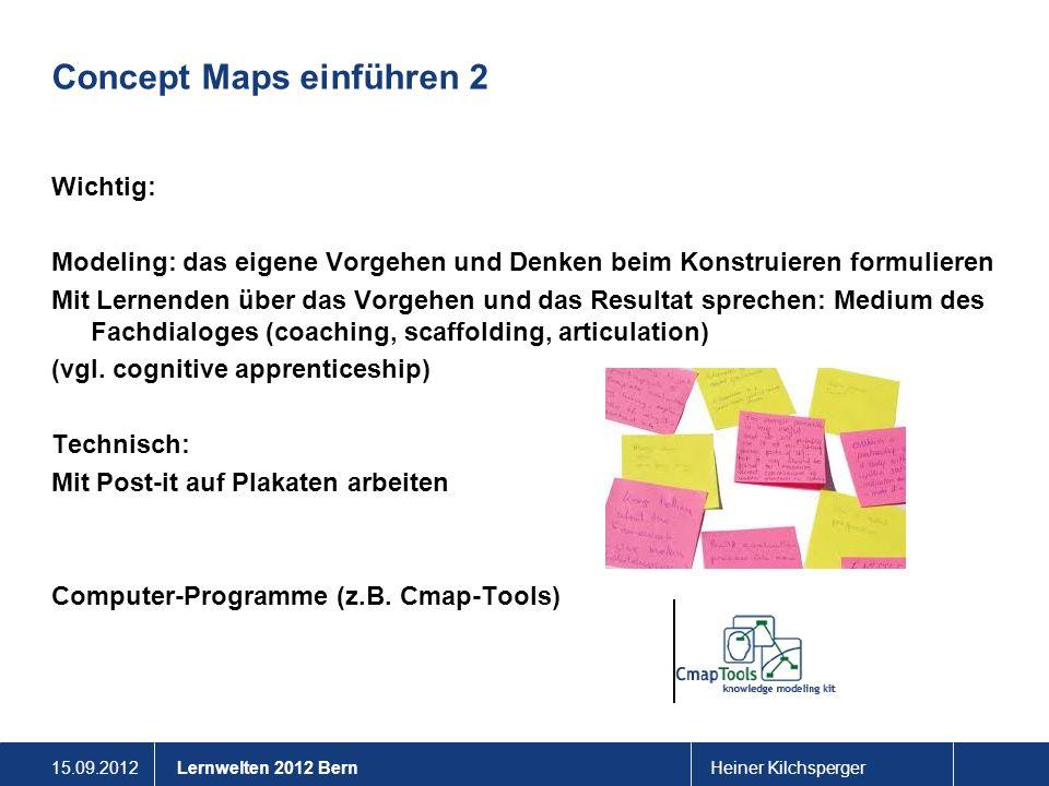 15.09.2012Heiner KilchspergerLernwelten 2012 Bern Concept Maps einführen 2 Wichtig: Modeling: das eigene Vorgehen und Denken beim Konstruieren formuli