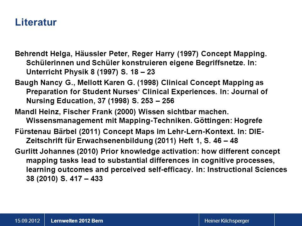 15.09.2012Heiner KilchspergerLernwelten 2012 Bern Literatur Behrendt Helga, Häussler Peter, Reger Harry (1997) Concept Mapping. Schülerinnen und Schül