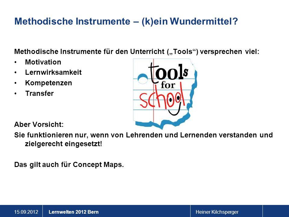 15.09.2012Heiner KilchspergerLernwelten 2012 Bern Methodische Instrumente – (k)ein Wundermittel? Methodische Instrumente für den Unterricht (Tools) ve