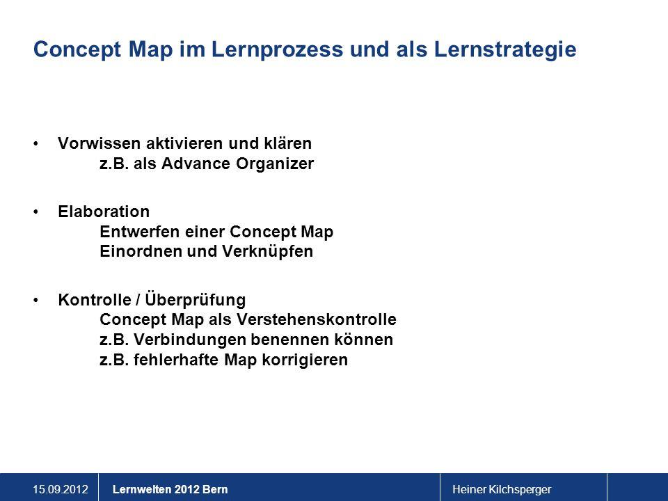 15.09.2012Heiner KilchspergerLernwelten 2012 Bern Concept Map im Lernprozess und als Lernstrategie Vorwissen aktivieren und klären z.B. als Advance Or