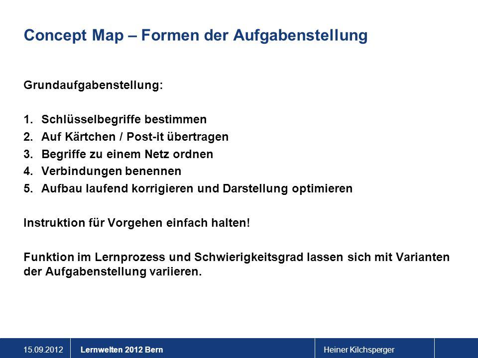 15.09.2012Heiner KilchspergerLernwelten 2012 Bern Concept Map – Formen der Aufgabenstellung Grundaufgabenstellung: 1.Schlüsselbegriffe bestimmen 2.Auf