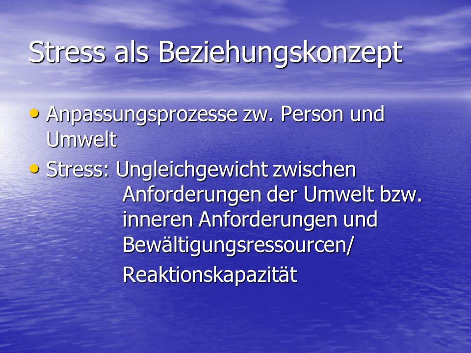 Stress als Beziehungskonzept Anpassungsprozesse zw. Person und Umwelt Anpassungsprozesse zw. Person und Umwelt Stress: Ungleichgewicht zwischen Anford