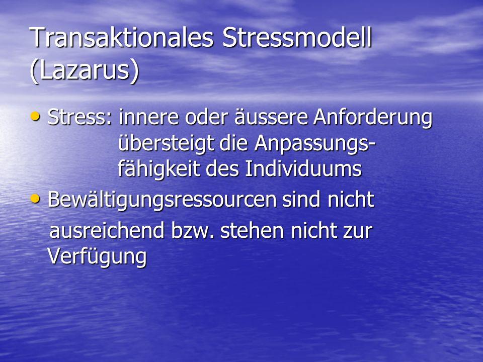 Transaktionales Stressmodell (Lazarus) Stress: innere oder äussere Anforderung übersteigt die Anpassungs- fähigkeit des Individuums Stress: innere ode