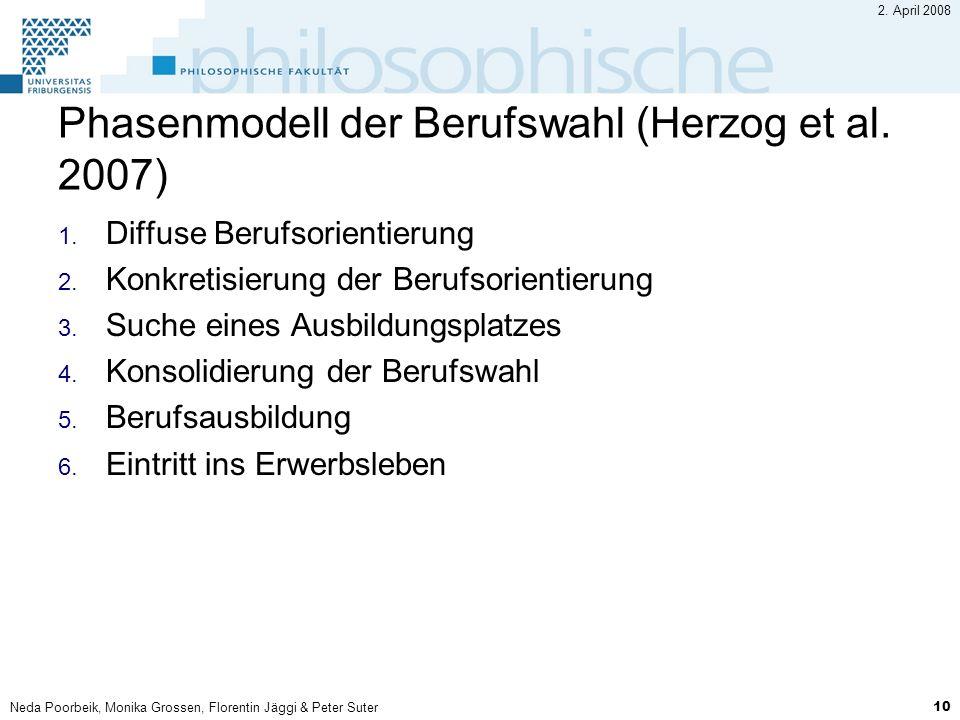 Neda Poorbeik, Monika Grossen, Florentin Jäggi & Peter Suter 10 2. April 2008 Phasenmodell der Berufswahl (Herzog et al. 2007) 1. Diffuse Berufsorient