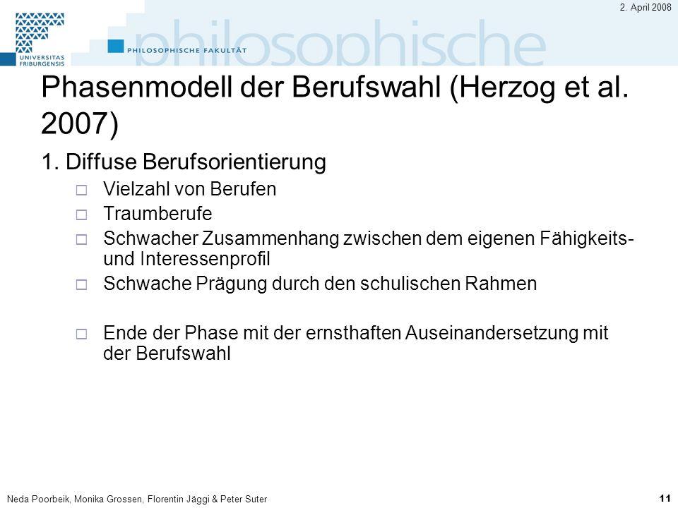 Neda Poorbeik, Monika Grossen, Florentin Jäggi & Peter Suter 11 2. April 2008 Phasenmodell der Berufswahl (Herzog et al. 2007) 1. Diffuse Berufsorient