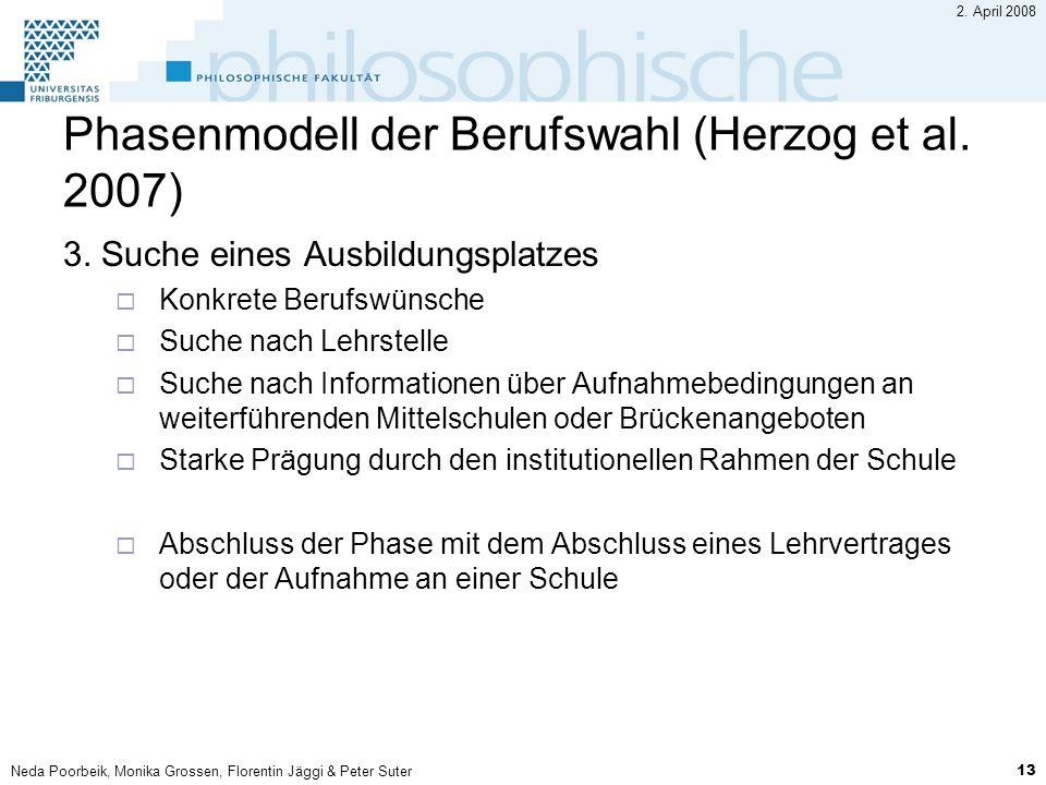 Neda Poorbeik, Monika Grossen, Florentin Jäggi & Peter Suter 13 2. April 2008 Phasenmodell der Berufswahl (Herzog et al. 2007) 3. Suche eines Ausbildu