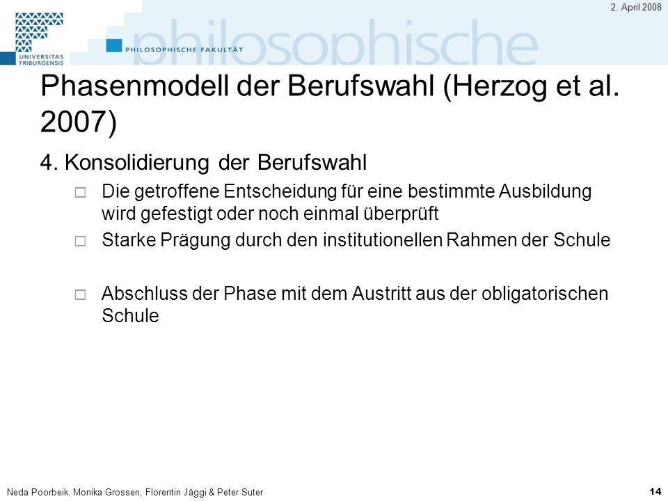 Neda Poorbeik, Monika Grossen, Florentin Jäggi & Peter Suter 14 2. April 2008 Phasenmodell der Berufswahl (Herzog et al. 2007) 4. Konsolidierung der B