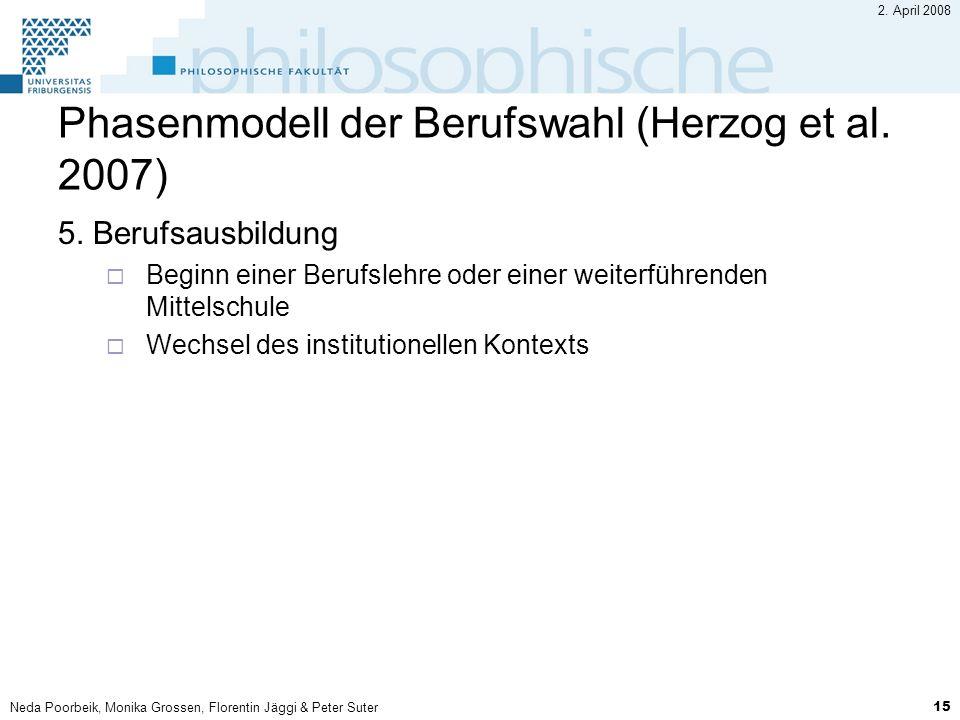 Neda Poorbeik, Monika Grossen, Florentin Jäggi & Peter Suter 15 2. April 2008 Phasenmodell der Berufswahl (Herzog et al. 2007) 5. Berufsausbildung Beg