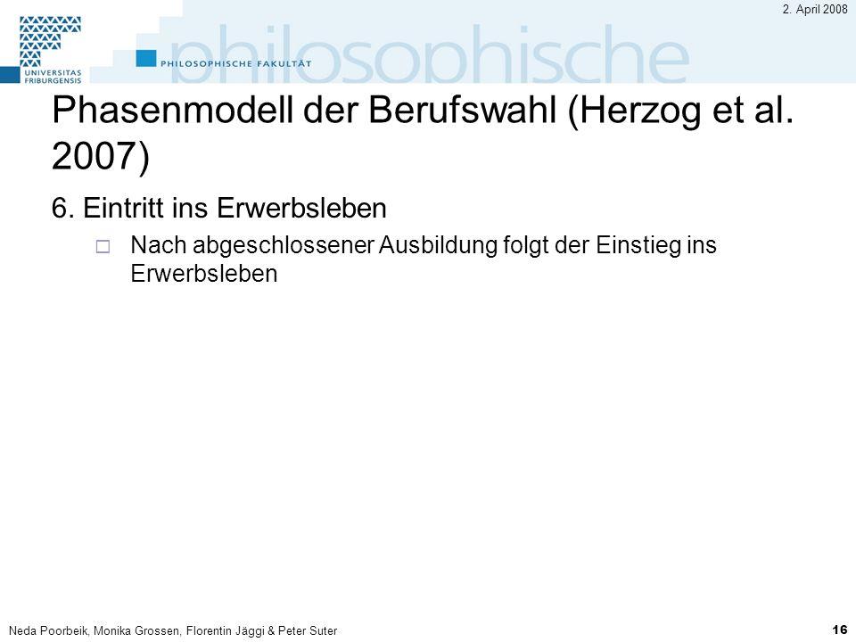 Neda Poorbeik, Monika Grossen, Florentin Jäggi & Peter Suter 16 2. April 2008 Phasenmodell der Berufswahl (Herzog et al. 2007) 6. Eintritt ins Erwerbs
