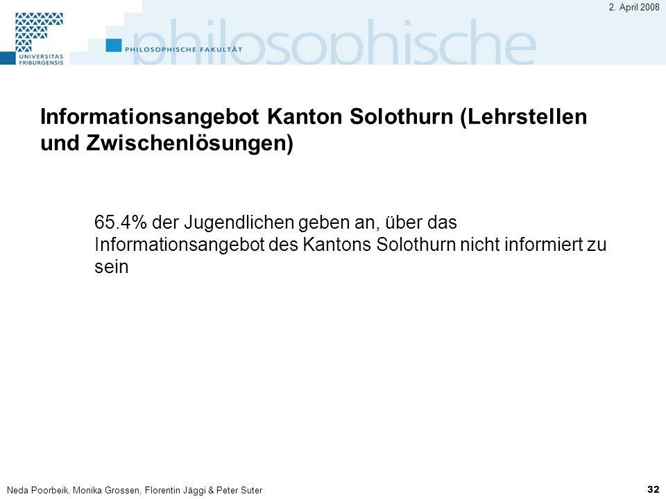 Neda Poorbeik, Monika Grossen, Florentin Jäggi & Peter Suter 32 2. April 2008 Informationsangebot Kanton Solothurn (Lehrstellen und Zwischenlösungen)