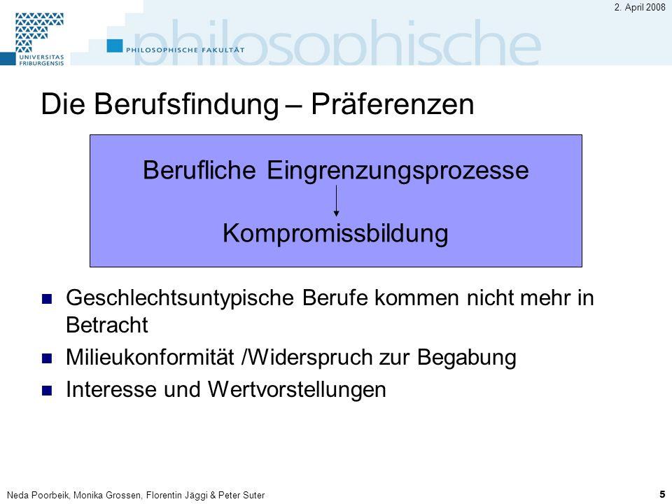Neda Poorbeik, Monika Grossen, Florentin Jäggi & Peter Suter 5 2. April 2008 Die Berufsfindung – Präferenzen Geschlechtsuntypische Berufe kommen nicht