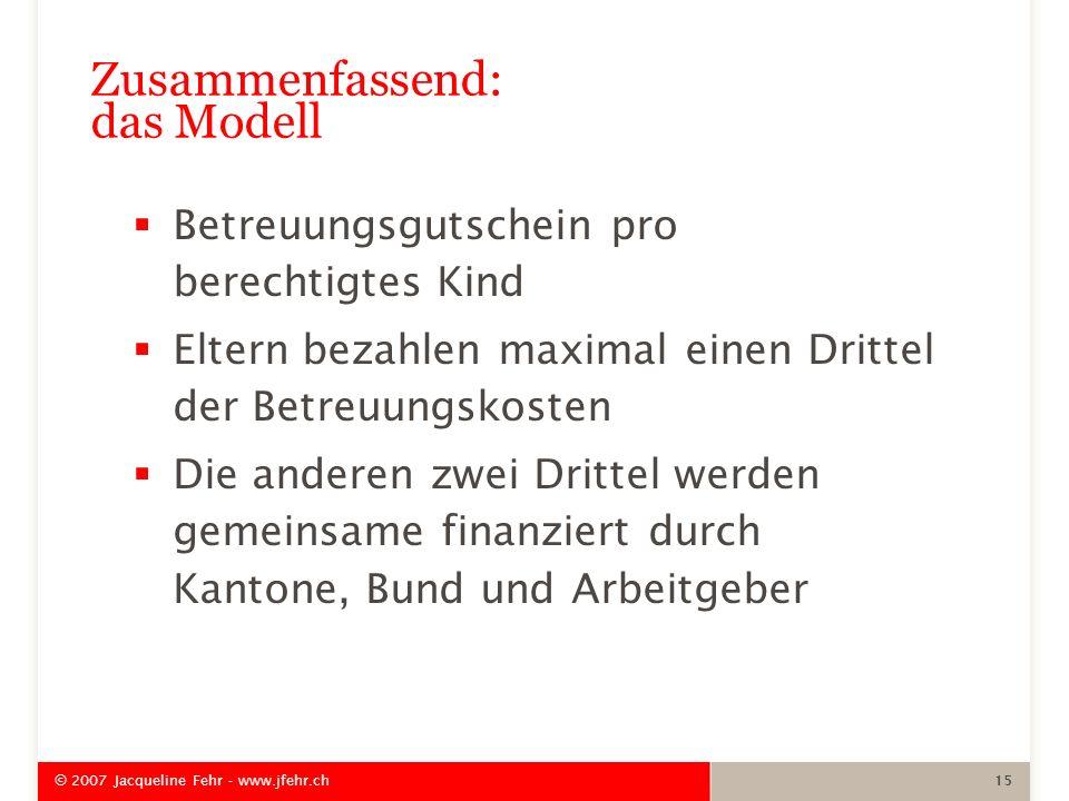 © 2007 Jacqueline Fehr - www.jfehr.ch 15 Zusammenfassend: das Modell Betreuungsgutschein pro berechtigtes Kind Eltern bezahlen maximal einen Drittel d