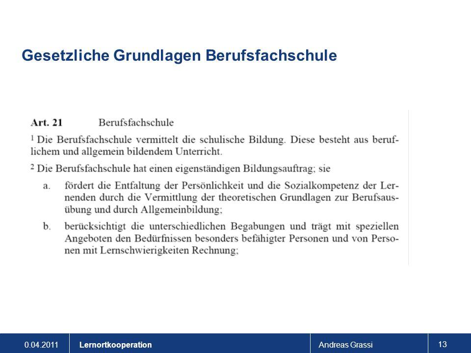 0.04.2011Andreas Grassi 13 Lernortkooperation Gesetzliche Grundlagen Berufsfachschule