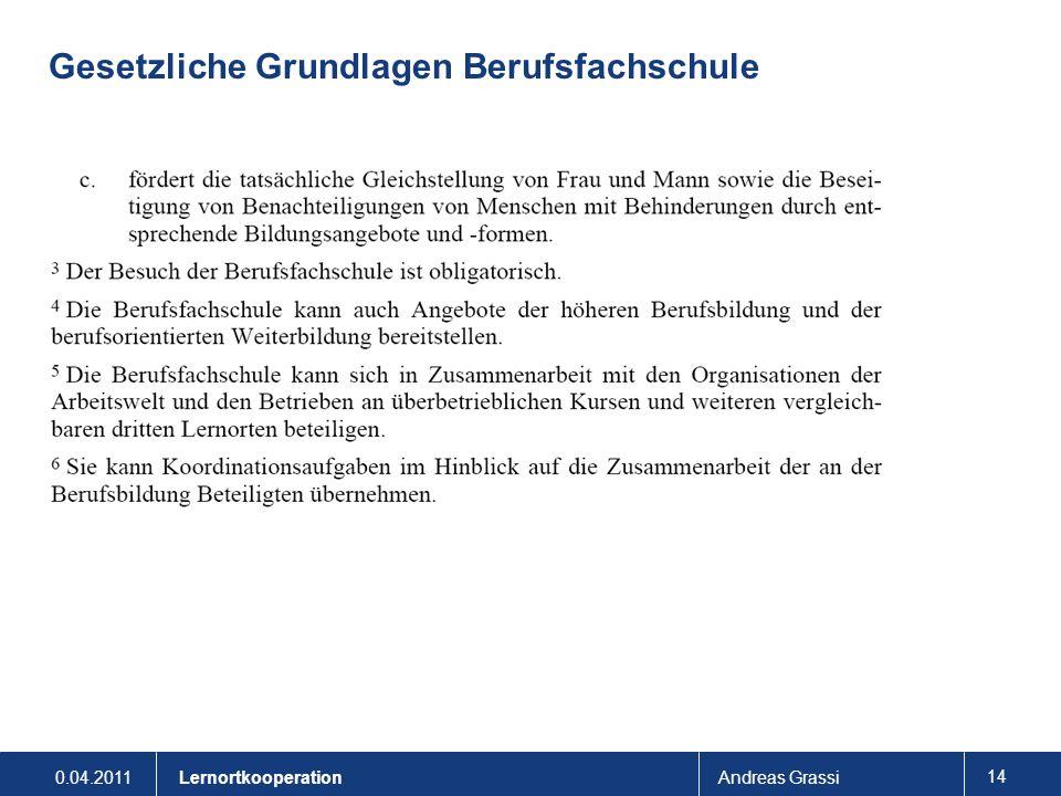 0.04.2011Andreas Grassi 14 Lernortkooperation Gesetzliche Grundlagen Berufsfachschule