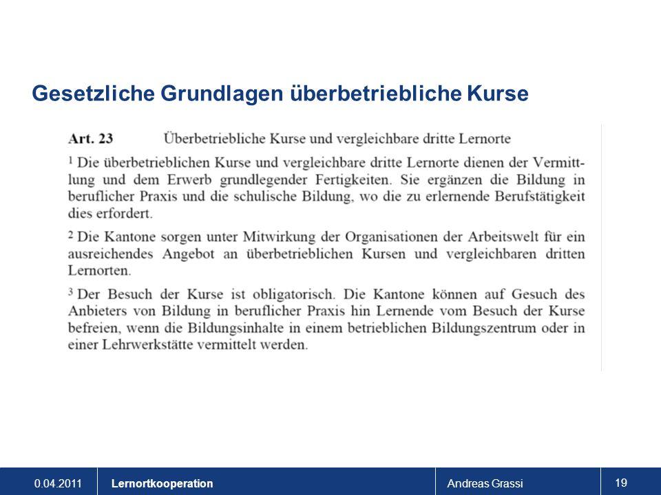 0.04.2011Andreas Grassi 19 Lernortkooperation Gesetzliche Grundlagen überbetriebliche Kurse