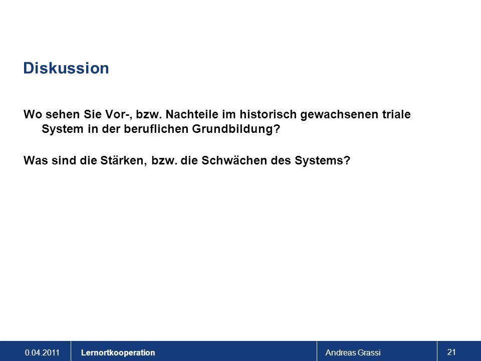 0.04.2011Andreas Grassi 21 Lernortkooperation Diskussion Wo sehen Sie Vor-, bzw. Nachteile im historisch gewachsenen triale System in der beruflichen