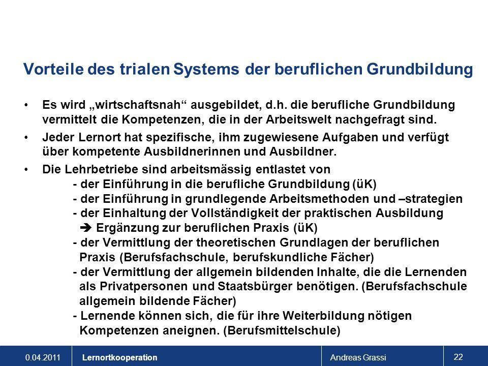 0.04.2011Andreas Grassi 22 Lernortkooperation Vorteile des trialen Systems der beruflichen Grundbildung Es wird wirtschaftsnah ausgebildet, d.h. die b