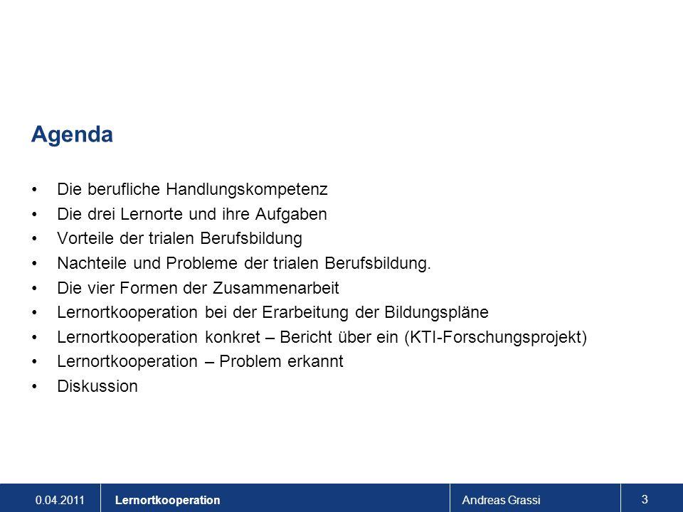 0.04.2011Andreas Grassi 34 Lernortkooperation Forschungsmethoden und -instrumente Quasi-experimentelles Design: Versuchsklassen mit vernetzter Lernförderung und Kontrollklassen mit Standard-Unterricht (wo möglich) Vortests: - Intelligenz (RPM) - komplexe Planungsaufgaben (Berufskontext, allgemeines Wissen) Begleitende Erhebungen: - Wöchentliche Kurzevaluation Motivation (EG und KG) - Lernjournale Lernende und Ausbildende (EG) - Transferaufgaben/Standortbestimmungen Nachtests: - Komplexe Planungsaufgaben (Berufskontext, Fachwissen) - Gruppen-Interviews mit den Ausbildenden