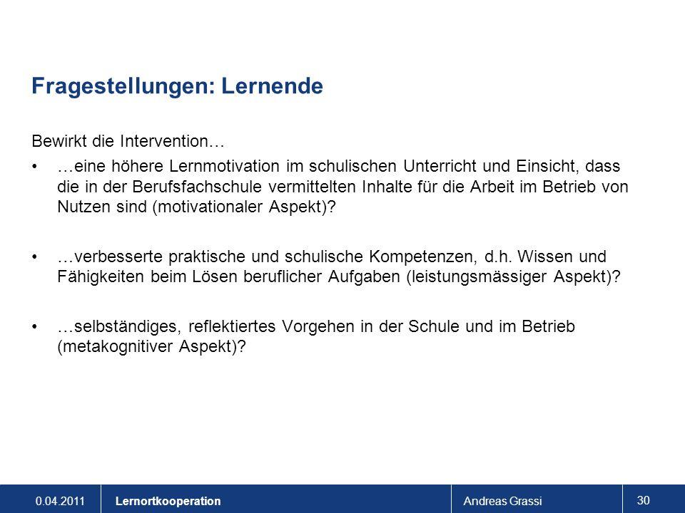 0.04.2011Andreas Grassi 30 Lernortkooperation Fragestellungen: Lernende Bewirkt die Intervention… …eine höhere Lernmotivation im schulischen Unterrich