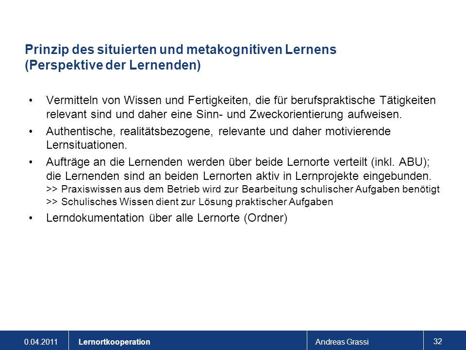 0.04.2011Andreas Grassi 32 Lernortkooperation Prinzip des situierten und metakognitiven Lernens (Perspektive der Lernenden) Vermitteln von Wissen und