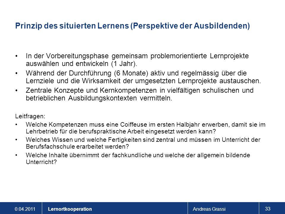 0.04.2011Andreas Grassi 33 Lernortkooperation Prinzip des situierten Lernens (Perspektive der Ausbildenden) In der Vorbereitungsphase gemeinsam proble
