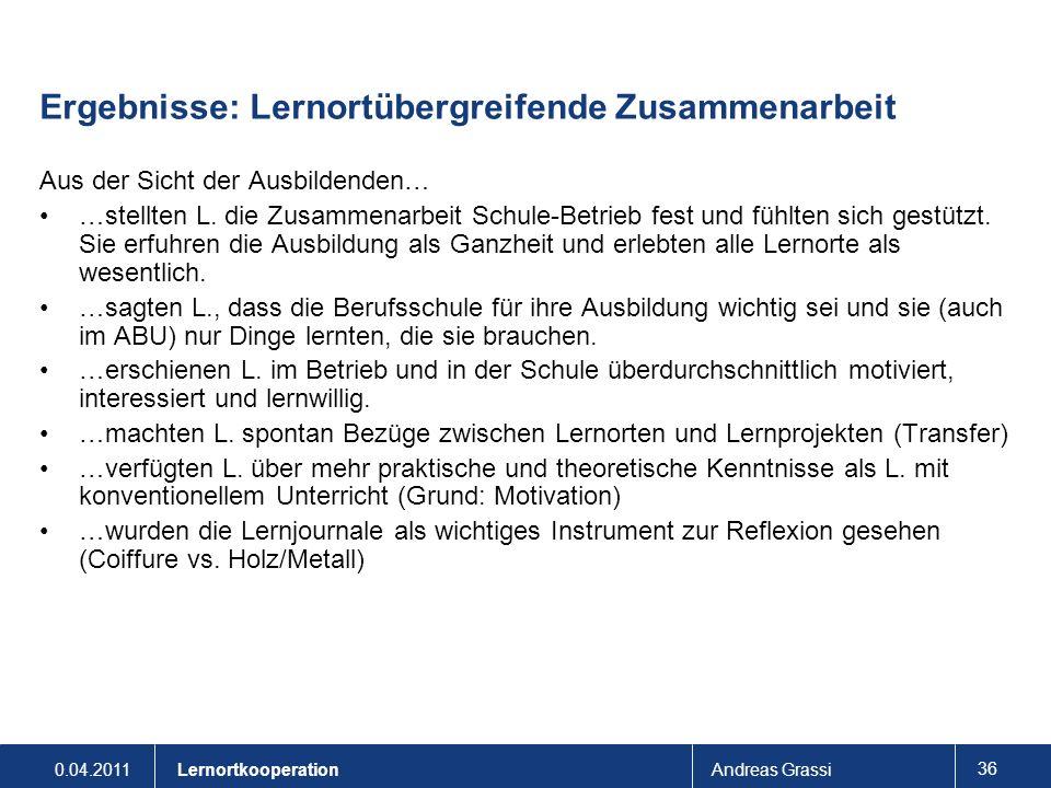 0.04.2011Andreas Grassi 36 Lernortkooperation Ergebnisse: Lernortübergreifende Zusammenarbeit Aus der Sicht der Ausbildenden… …stellten L. die Zusamme