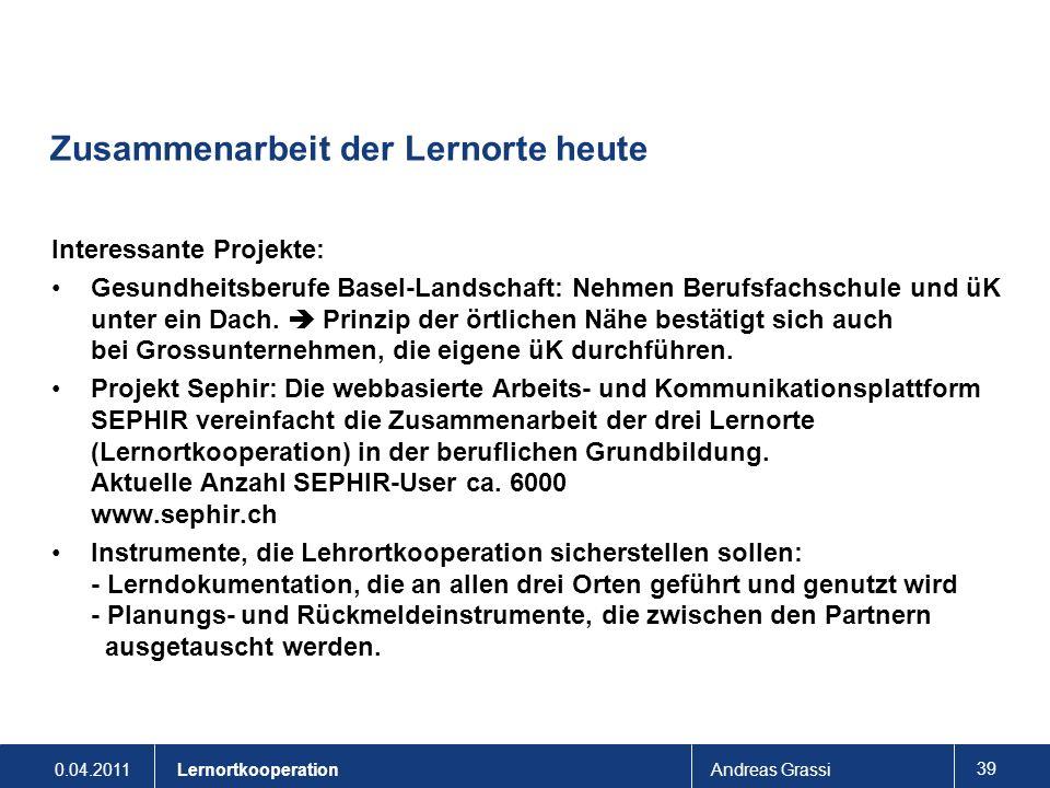 0.04.2011Andreas Grassi 39 Lernortkooperation Zusammenarbeit der Lernorte heute Interessante Projekte: Gesundheitsberufe Basel-Landschaft: Nehmen Beru