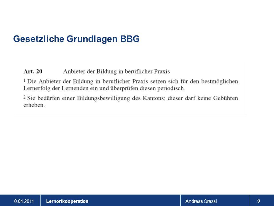 0.04.2011Andreas Grassi 9 Lernortkooperation Gesetzliche Grundlagen BBG