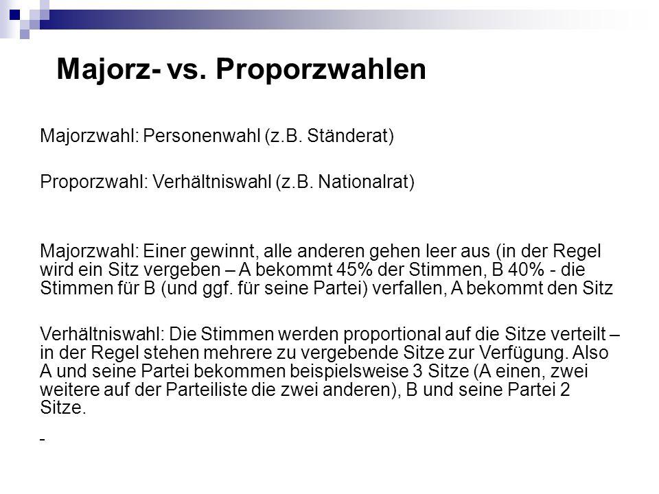 Majorz- vs. Proporzwahlen Majorzwahl: Personenwahl (z.B. Ständerat) Proporzwahl: Verhältniswahl (z.B. Nationalrat) Majorzwahl: Einer gewinnt, alle and