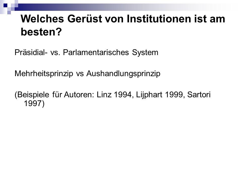 Welches Gerüst von Institutionen ist am besten? Präsidial- vs. Parlamentarisches System Mehrheitsprinzip vs Aushandlungsprinzip (Beispiele für Autoren