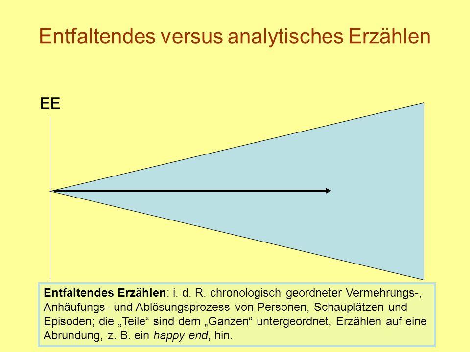 Entfaltendes versus analytisches Erzählen EE Entfaltendes Erzählen: i.
