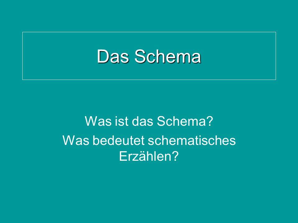 Das Schema Was ist das Schema? Was bedeutet schematisches Erzählen?