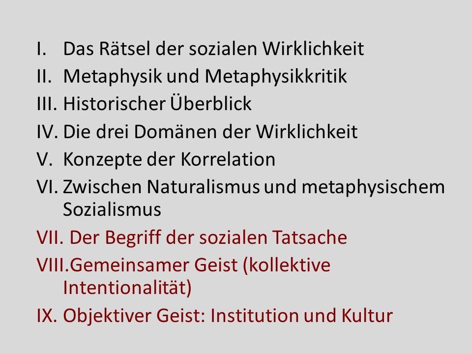 Rückblick: Kollektive Intentionalität Adäquatheitsbedingungen: individuelle intentionale Autonomie und phänomenale Separation Geschichte und gegenwärtige Konzepte Kollektivität in Gehalt, Modus und Subjekt