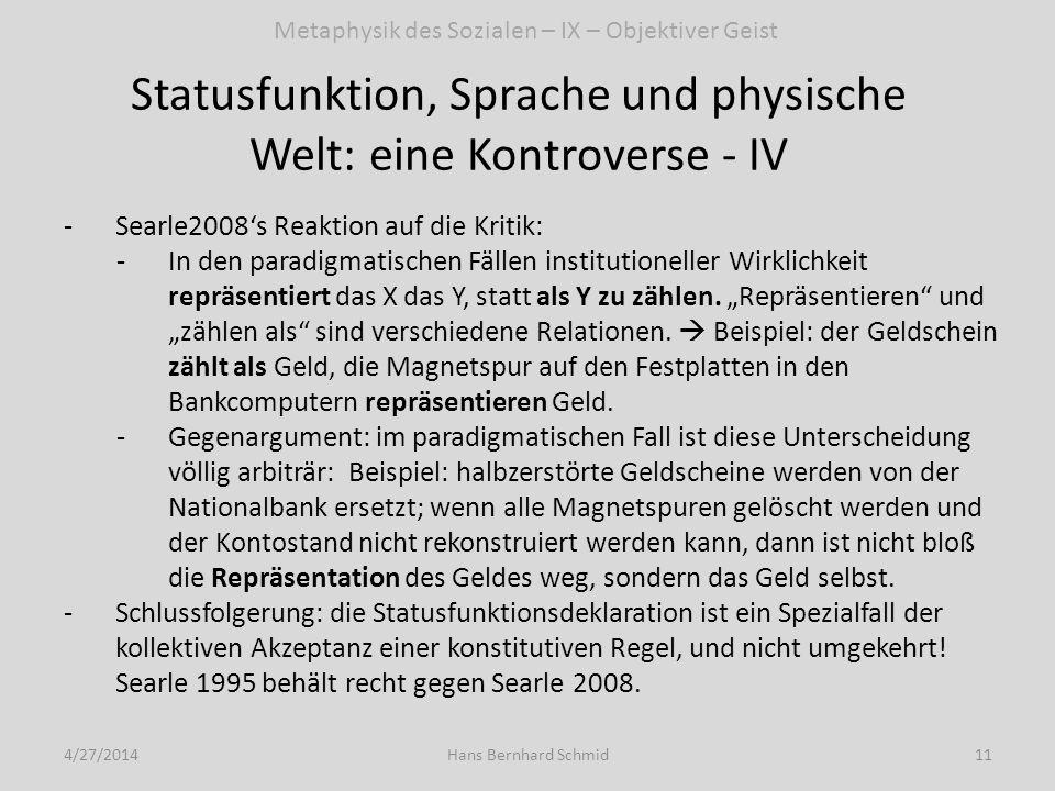 Statusfunktion, Sprache und physische Welt: eine Kontroverse - IV 4/27/201411Hans Bernhard Schmid -Searle2008s Reaktion auf die Kritik: -In den paradi