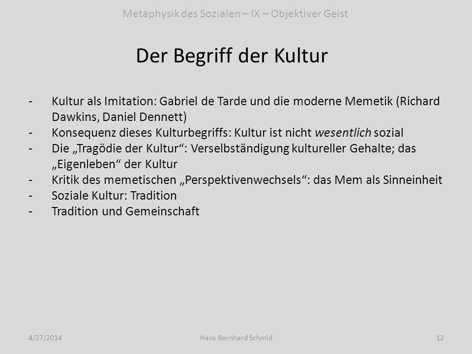 Der Begriff der Kultur 4/27/201412Hans Bernhard Schmid -Kultur als Imitation: Gabriel de Tarde und die moderne Memetik (Richard Dawkins, Daniel Dennet