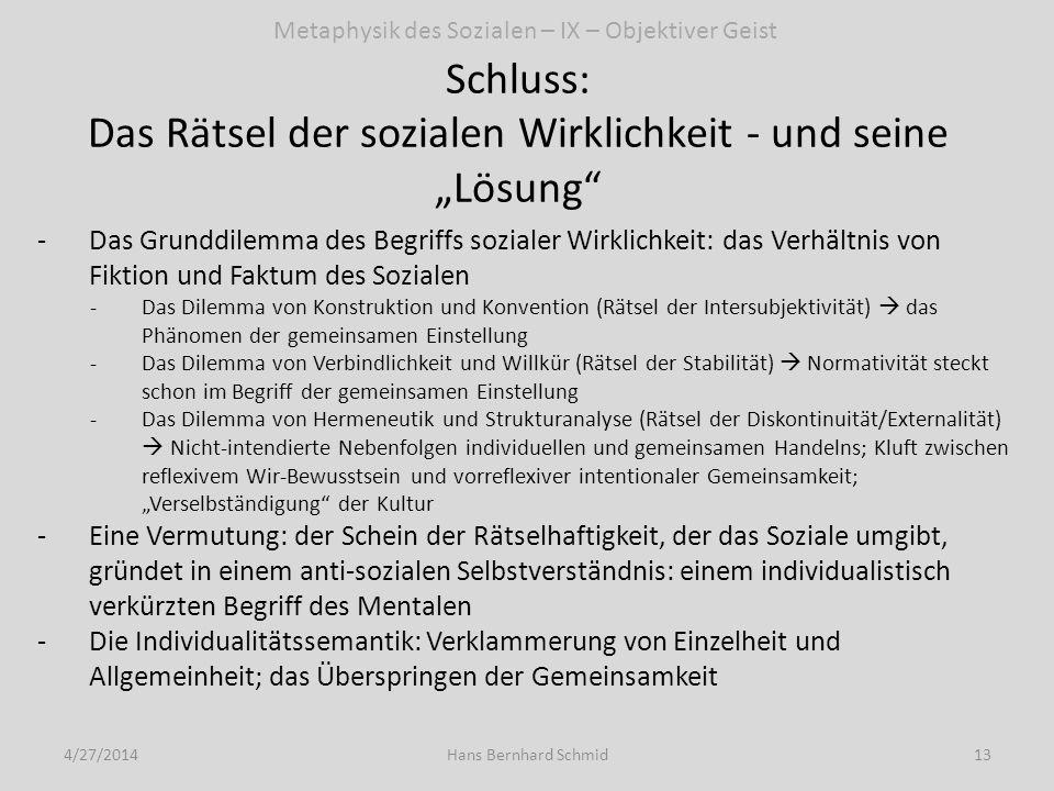 Schluss: Das Rätsel der sozialen Wirklichkeit - und seine Lösung 4/27/201413Hans Bernhard Schmid -Das Grunddilemma des Begriffs sozialer Wirklichkeit: