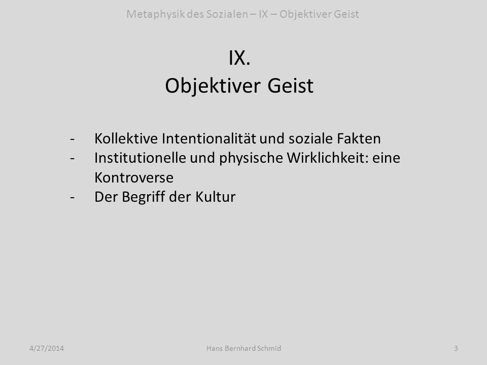 IX. Objektiver Geist 4/27/20143Hans Bernhard Schmid Metaphysik des Sozialen – IX – Objektiver Geist -Kollektive Intentionalität und soziale Fakten -In