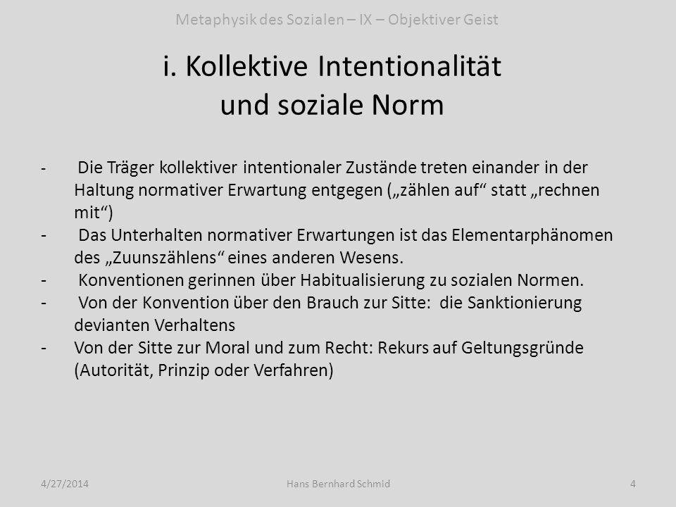 i. Kollektive Intentionalität und soziale Norm 4/27/20144Hans Bernhard Schmid - Die Träger kollektiver intentionaler Zustände treten einander in der H