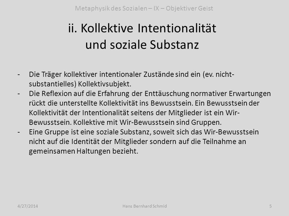 Konsequenzen für die Klassifikation sozialer Substanzen und den Begriff kollektiver Identität 4/27/20146Hans Bernhard Schmid -Nicht-substantielle Kollektivität ist fundamentaler als soziale Substanz -Kollektivsubjekt ist eine fundamentalere Kategorie als Gruppe.