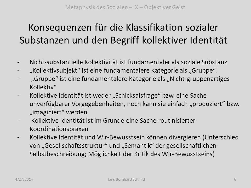Konsequenzen für die Klassifikation sozialer Substanzen und den Begriff kollektiver Identität 4/27/20146Hans Bernhard Schmid -Nicht-substantielle Koll