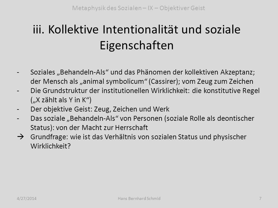 Statusfunktion, Sprache und physische Welt: eine Kontroverse - I 4/27/20148Hans Bernhard Schmid -Searle 1995: der Ansatz bei der kollektiven Akzeptanz konstitutiver Regeln (X zählt als Y in Kontext K); -Logischer Vorrang physischer Fakten vor sozialen Fakten -Institutionelle soziale Fakten bleiben kraft kollektiv mentaler Zustände auf Physisches bezogen; damit wird die Einheit der Wirklichkeit verständlich -Genetische Plausibilität: das Paradigma der verfallenden Grenzmauer -Der Einwand (Barry Smith 2007): freistehende Y-Terme; Bsp.