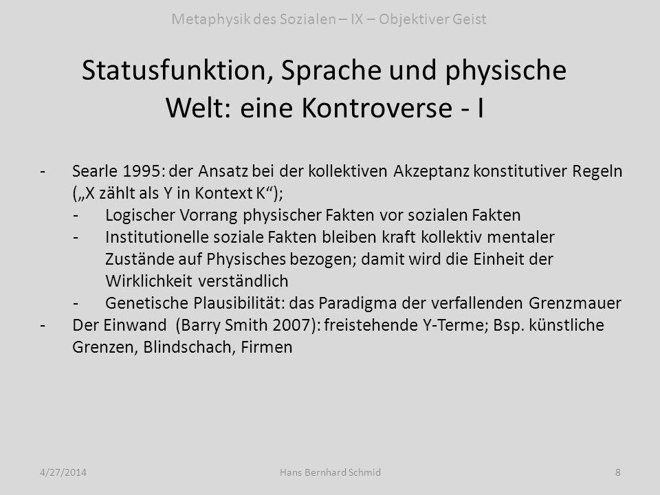 Statusfunktion, Sprache und physische Welt: eine Kontroverse - II 4/27/20149Hans Bernhard Schmid -Searles Reaktion auf Smith Einwand: von der kollektiven Akzeptanz konstitutiver Regeln zur Statusfunktionsdeklaration (Deklaration: Schaffung eines Sachverhalts durch Repräsentation eines Sachverhalts im propositionalen Gehalt des Sprechakts) -Möglichkeit von freistehenden Y-Termen -X zählt als Y als Spezialfall der Statusfunktionsdeklaration -Kollektive Akzeptanz als generiert durch Deklarationsmacht -Linguistische Natur der institutionellen Wirklichkeit Metaphysik des Sozialen – IX – Objektiver Geist