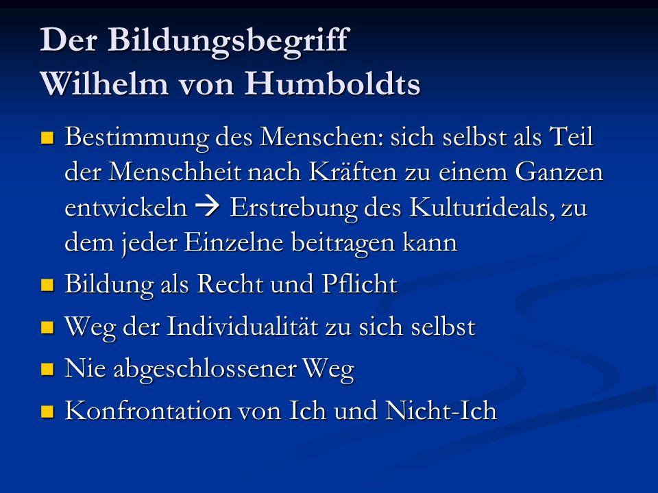 Der Bildungsbegriff Wilhelm von Humboldts Bestimmung des Menschen: sich selbst als Teil der Menschheit nach Kräften zu einem Ganzen entwickeln Erstrebung des Kulturideals, zu dem jeder Einzelne beitragen kann Bestimmung des Menschen: sich selbst als Teil der Menschheit nach Kräften zu einem Ganzen entwickeln Erstrebung des Kulturideals, zu dem jeder Einzelne beitragen kann Bildung als Recht und Pflicht Bildung als Recht und Pflicht Weg der Individualität zu sich selbst Weg der Individualität zu sich selbst Nie abgeschlossener Weg Nie abgeschlossener Weg Konfrontation von Ich und Nicht-Ich Konfrontation von Ich und Nicht-Ich