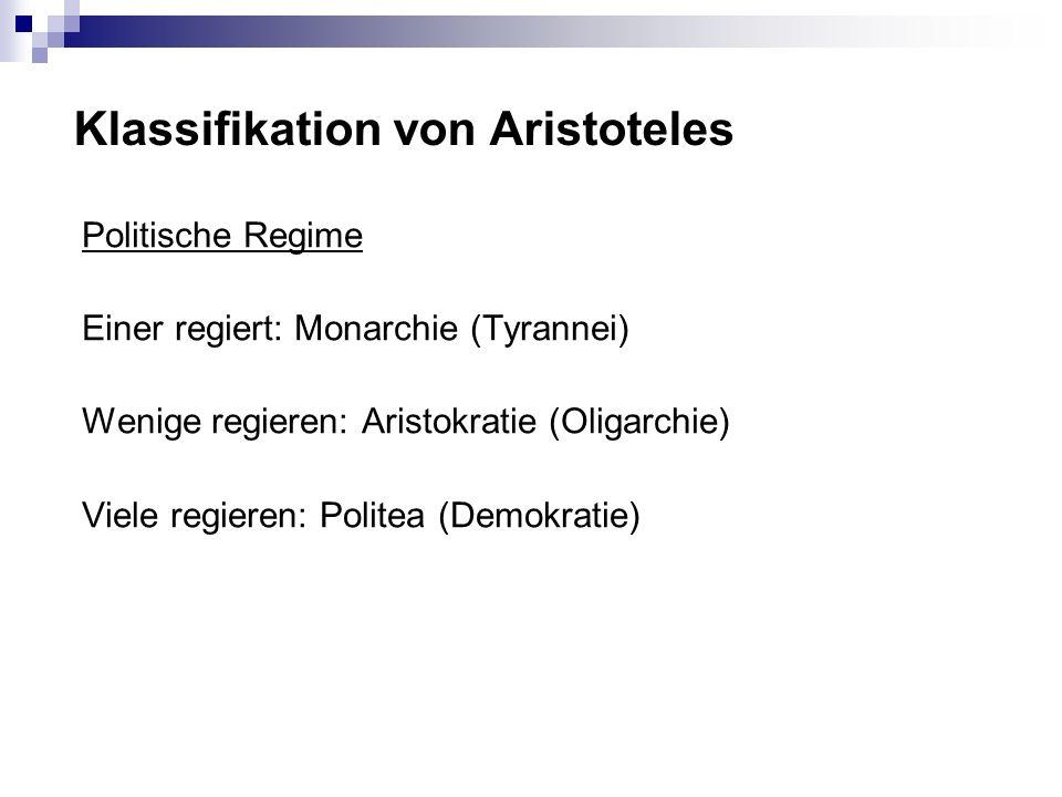 Klassifikation von Aristoteles Politische Regime Einer regiert: Monarchie (Tyrannei) Wenige regieren: Aristokratie (Oligarchie) Viele regieren: Politea (Demokratie)