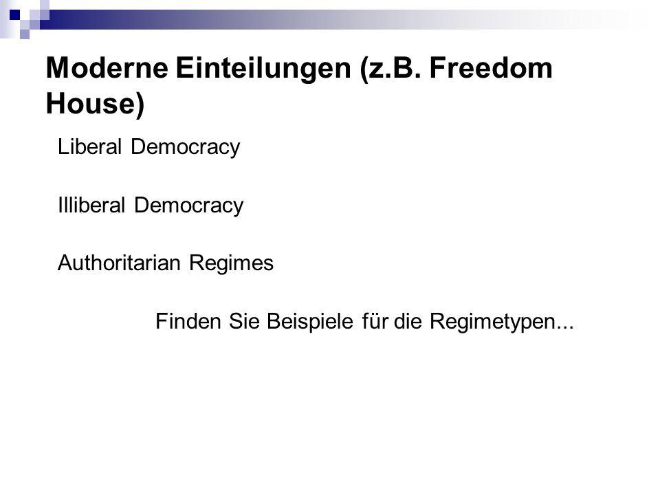 Moderne Einteilungen (z.B. Freedom House) Liberal Democracy Illiberal Democracy Authoritarian Regimes Finden Sie Beispiele für die Regimetypen...