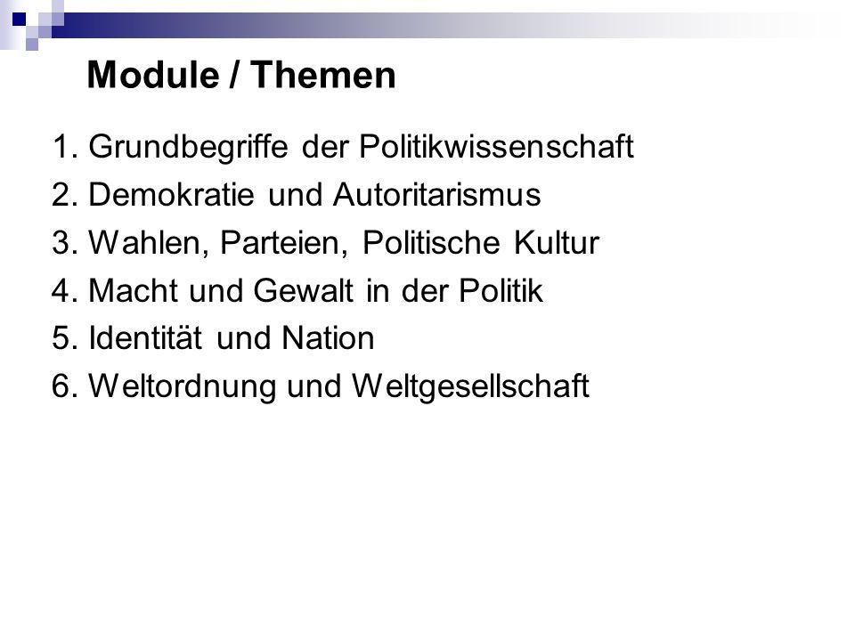 Module / Themen 1. Grundbegriffe der Politikwissenschaft 2.